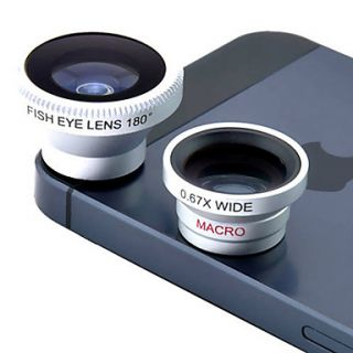 3 in 1 0.67X Wide Angle and Macro Lens and 180 Degree Fish Eye Lens for 4/4S, iPad and Other Cellphone