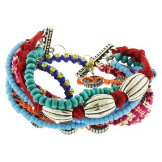 Womens Multicolor Strand Friendship Bracelet with Wood Beads, Seed Beads and