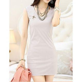 Qcqy Summer Sleeveless Round Neck Bottoming Dress (Cream)
