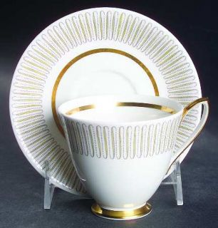 Royal Albert Capri Footed Cup & Saucer Set, Fine China Dinnerware   Yellow Line/