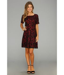 ABS Allen Schwartz S/S Boat Neck Lace Dress Womens Dress (Black)