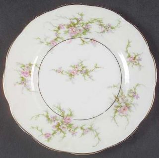 Haviland Rosalinde (France,Gold Trim) Salad Plate, Fine China Dinnerware   Franc
