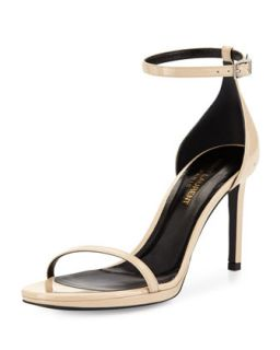 Jane Calfskin Sandal, Nude   Saint Laurent