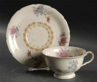 Black Knight Thelma Footed Cup & Saucer Set, Fine China Dinnerware   Pink/Purple