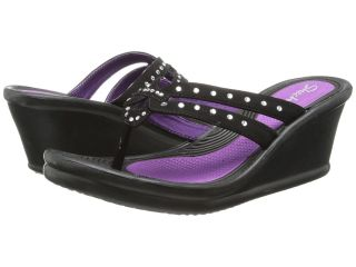 SKECHERS Rumblers Lotus Flower Womens Wedge Shoes (Black)