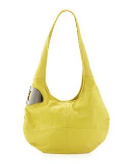 Medium Leather Hobo Bag, Lemonade