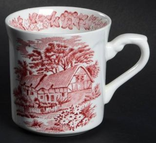 J & G Meakin Romantic England Red Mug, Fine China Dinnerware   Red Scenes,White,