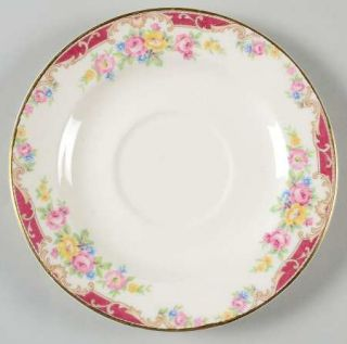 Edwin Knowles Lido Saucer, Fine China Dinnerware   Yellow/Pink Sprays,Red&Tan Ed