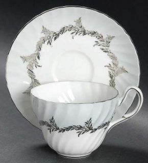 Foley Silver Fern Flat Cup & Saucer Set, Fine China Dinnerware   Gray Rim, Plati