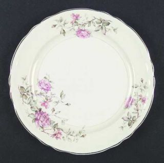 Edwin Knowles Virginia Dinner Plate, Fine China Dinnerware   Pink/Yellow Flowers