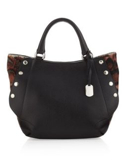 Royal Medium Leopard Print Side Snap Tote, Black