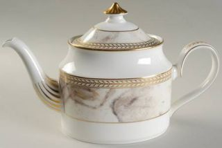 Minton Alabaster & Gold Teapot & Lid, Fine China Dinnerware   Gold Laurel Inner
