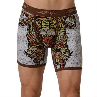 Ed Hardy Mens Brown Tiger Collage Premium Boxer Brief