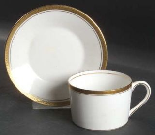 Coalport Elite Gold Flat Cup & Saucer Set, Fine China Dinnerware   Gold Encruste