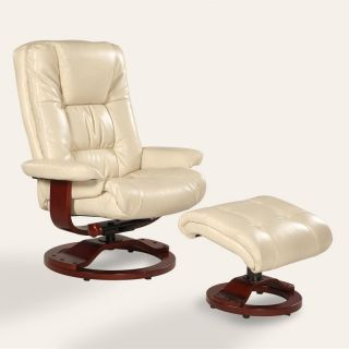 MAC Motion Oslo Bonded Leather Swivel Recliner with Ottoman   Ice Pearl