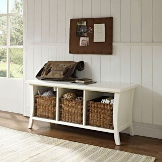 Crosley Wallis Entryway Storage Bench   White   CF6002 WH